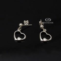 Kolczyki srebrne serca w sercach wiszące srebro 925