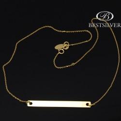 Łańcuszek Srebrny Złocony Szczęścia z blaszką prostokątną