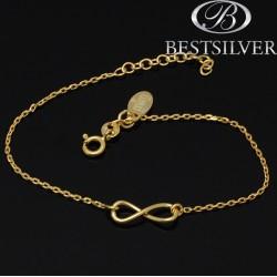 Bransoletka srebrna złocona ze znakiem nieskończności INFINITY