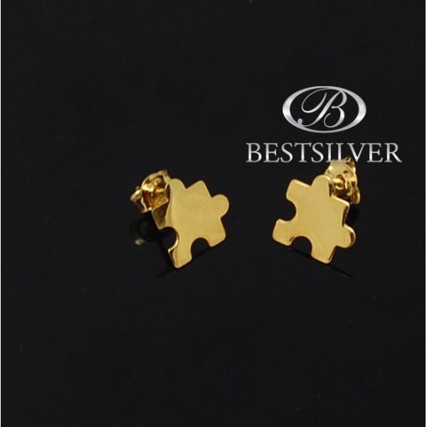 Kolczyki srebrne złocone do kompletu PUZLE