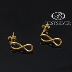 Kolczyki srebrne złocone do kompletu Nieskończność