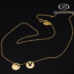 Naszyjnik srebrne złocony z 2 elemantami Kółko puste i kółko pełne