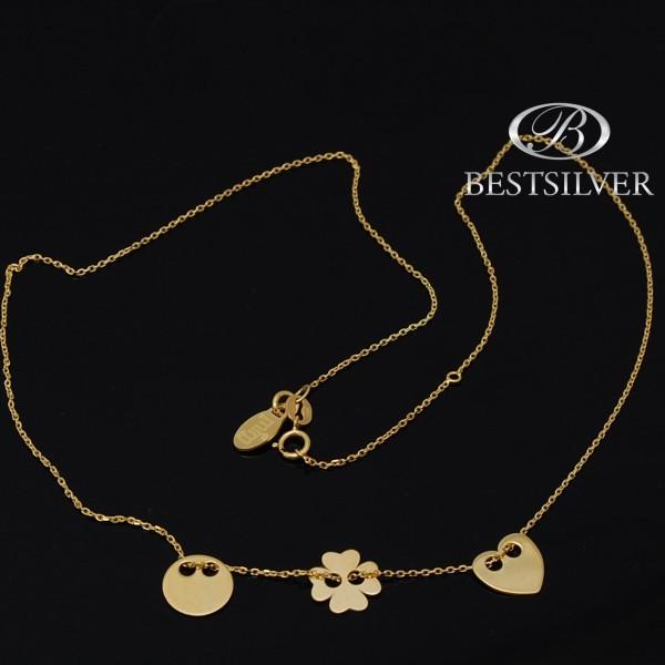 Naszyjnik złocony celebrytka z 3 elemntami Koniczyna serce i kółko pełne