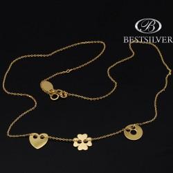 Naszyjnik złocony celebrytka z 3 elemntami Serce kółko z dziurką i koniczyna
