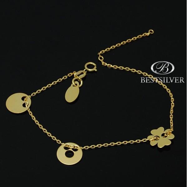 Bransoletka złocona ze srebra Celebrytka z 3 symbolami kółko pełne kółko z dziurką i koniczyna