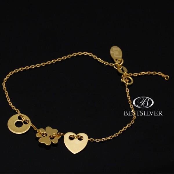 Bransoletka złocona ze srebra Celebrytka z 3 elemt. serce kółko z dziurką i koniczyna