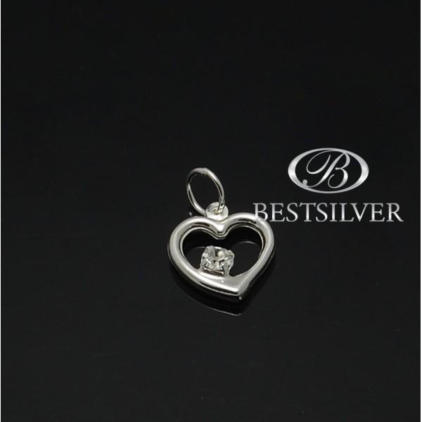 piękna Zawieszka srebrna Serce z cyrkonią Srebro 925