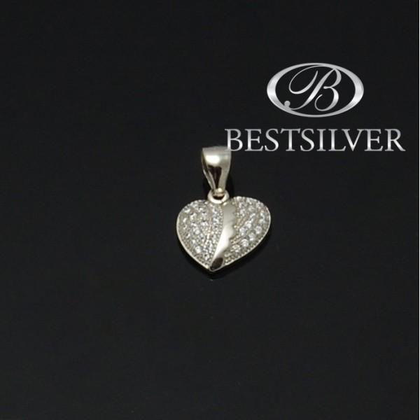Zawieszka srebrna serce z cyrkoniami Srebro 925