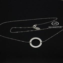 Łańcuszek Srebrny Damski Duży Ring rodowany 20mm