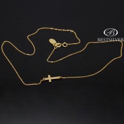 Łańcuszek srebrny celebrytka złocony z krzyżykiem 925