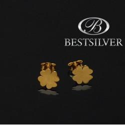 Kolczyki srebrne celebrytki złocone koniczyna czterolistna