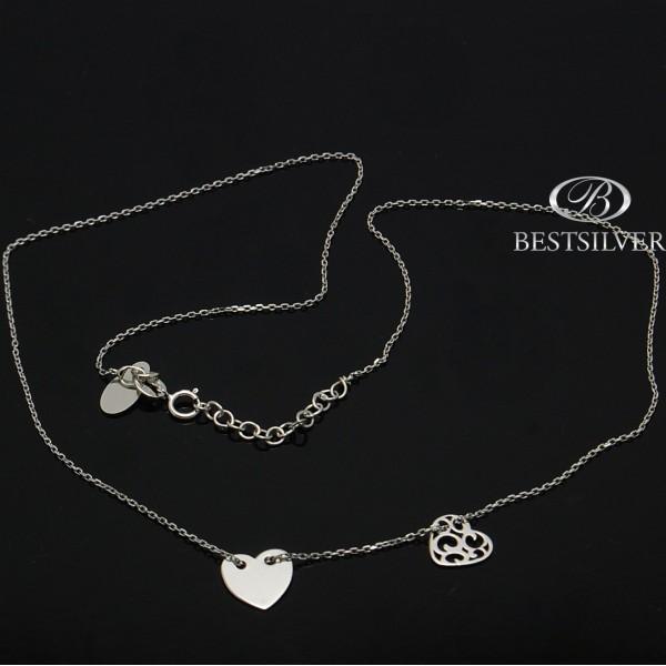 Naszyjnik Srebrny rodowany 2 serca + przedłużka SREBRO 925