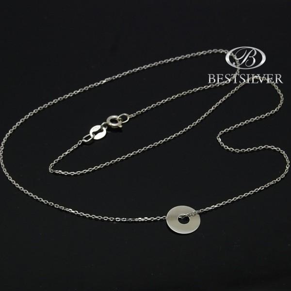 Naszyjnik Srebrny rodowany z kólkiem pełnym Srebro pr925