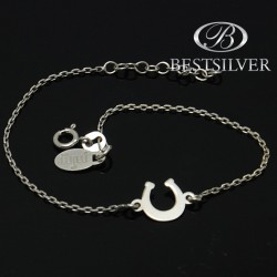 Bransoletka srebrna rodowana podkowa na szczescie