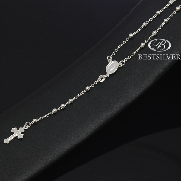 Srebrny różaniec, chrzest, komunia  naszyjnik modlitewny 63cm