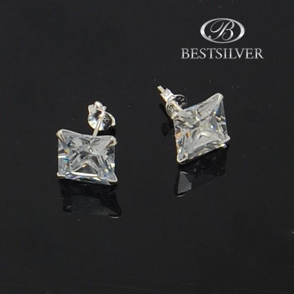 Kolczyki srebrne z cyrkonią 10mm kwadratową białe Crystal