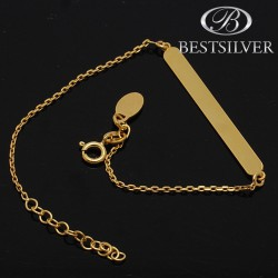 Bransoletka srebrna celebrytka złocona 24k z blaszką