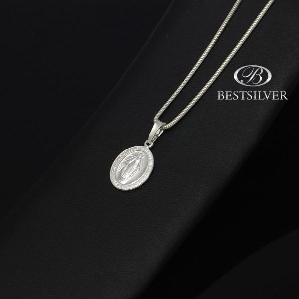 Dwustronny medalik Srebrny z matką boską Srebro pr 925