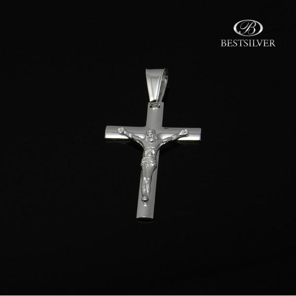 Duży Srebrny krzyżyk męski z Panem Jezusem Srebro 925