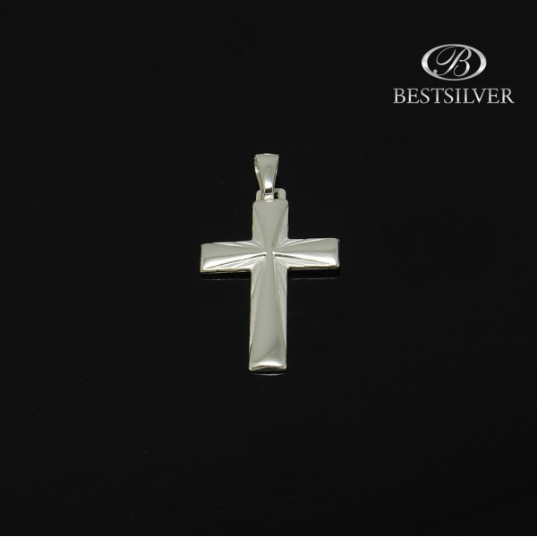 Krzyżyk Srebrny męski promienie Srebro 925