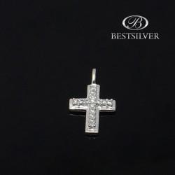 Krzyżyk srebrny damski z białymi cyrkoniami Srebro pr.925