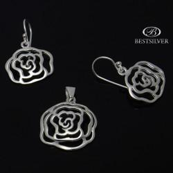 Komplet Srebrny - kolczyki + zawieszka róże ażurowy Srebro 925