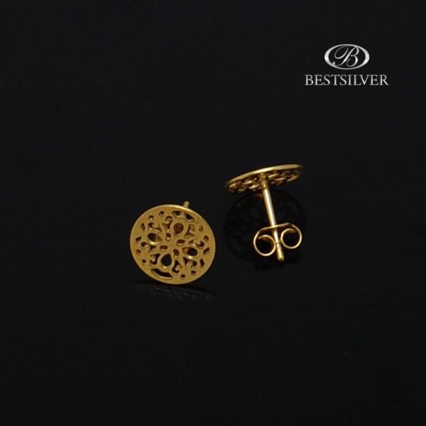 Kolczyki ze srebra złocone Celebrytki koła ażurowe