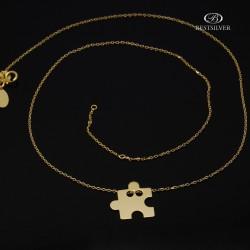 Naszyjnik Złocony puzzel celebrytka 42cm + 3cm przedłuzki Srebro 925