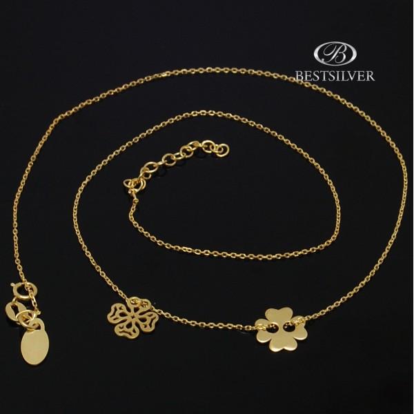 Łańcuszek złocony celebrytka podwójna koniczyna ażurowa Srebro