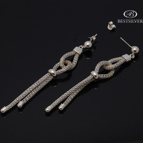 Kolczyki Srebrne wiszące podwójne sznurki Srebro 925
