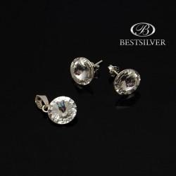 Komplet Damskiej Biżuterii Rivoli biały w srebrze Srebro 925