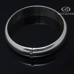 Duża Bransoletka damska srebrna sztywna okrągła dwuczęsciowa