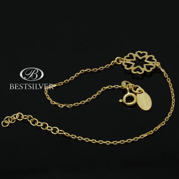 Bransoletka złocona celebrytka serca w koniczyne Srebro 925