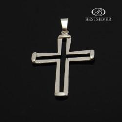 Duży Krzyżyk srebrny dla mężczyzny wycięty profil krzyżyka