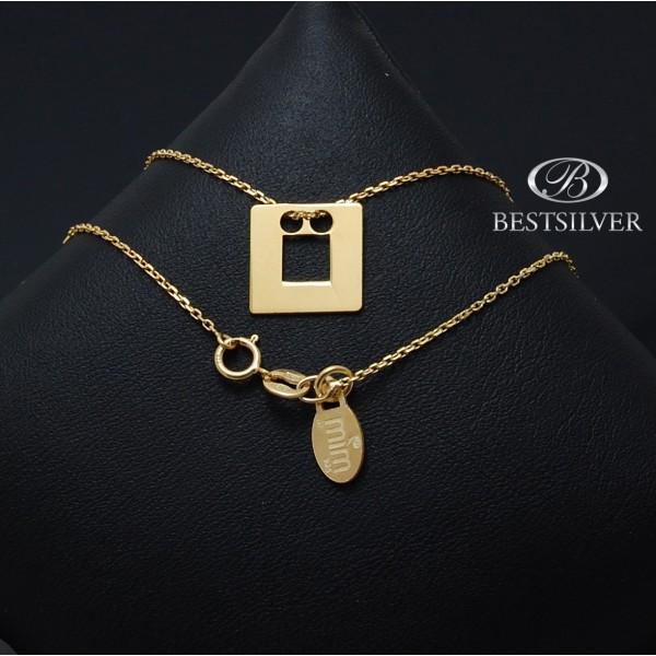 Łańcuszek złocony celebrytka kwadrat z dziurką Srebro 925