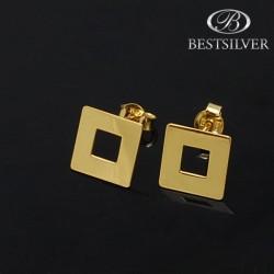 Kolczyki srebrne złocone celebrytki kwadrat z dziurką