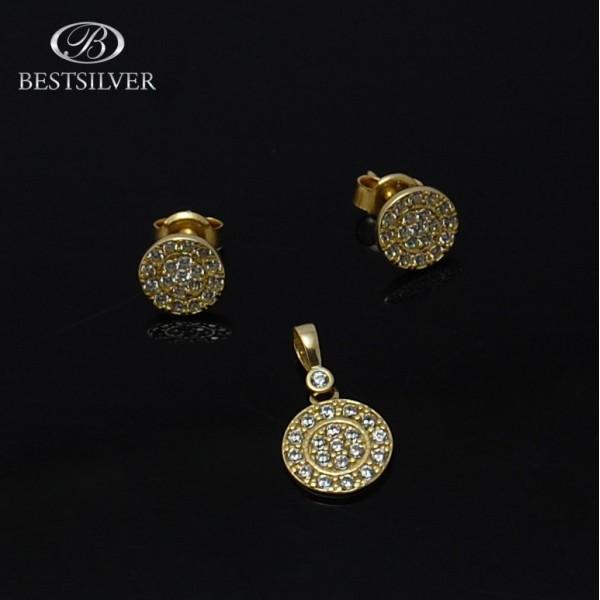 Komplet złoty kółko pełne z cyrkoniami złoto pr.333