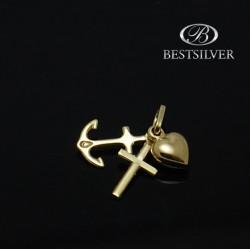 Zawieszka złota symbol wiara nadzieja miłość 8kt