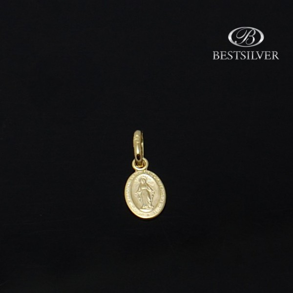 Medalik złoty z matką boską na chrzest, chrzciny, komunia 8kt