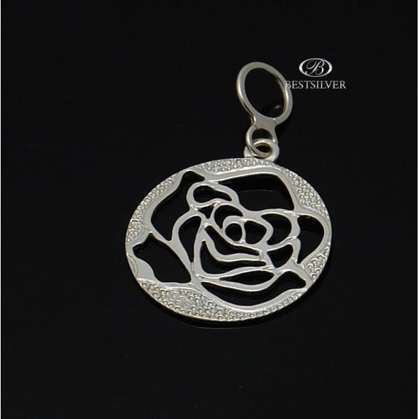 Zawieszka Srebrna Róża okrągła Srebro pr.925