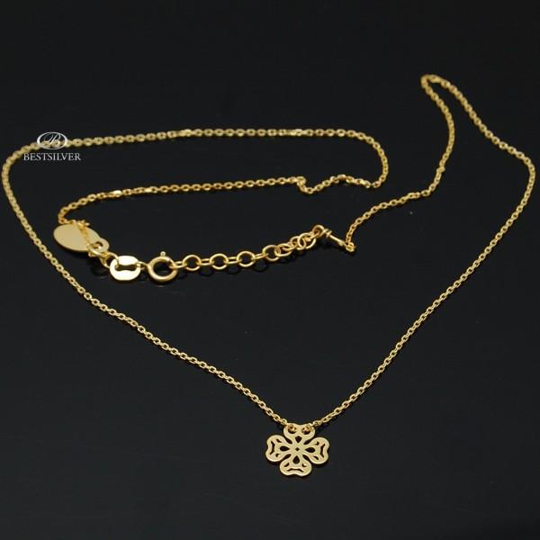 Naszyjnik Srebrny Złocony z Koniczyną Ażurowa 925