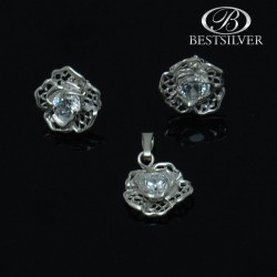 Kolczyki srebrne z cyr. białe 6mm + zawieszka kwiatek Srebro 925