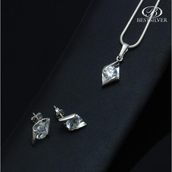Stylowy komplet srebrnej damskiej biżuterii z cyrkonią