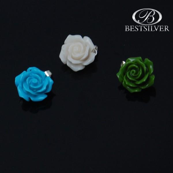 Zawieszka ze Srebra Kwiatek w 3 kolorach biały, zielony lub niebieski