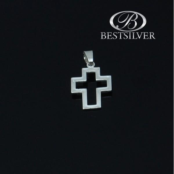 Modny Krzyzyk srebrny męski obrys krzyża Srebro 925
