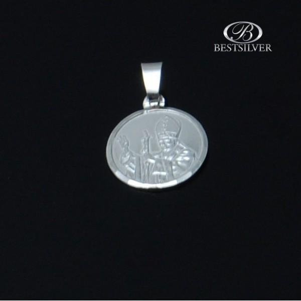 Medalik okrągły Srebrny z Janem Pawłem II Srebro 925