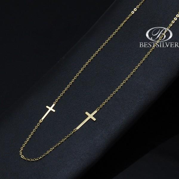 Naszyjnik Złoty damski z dwoma 2 krzyżykami celebrytka pr.333