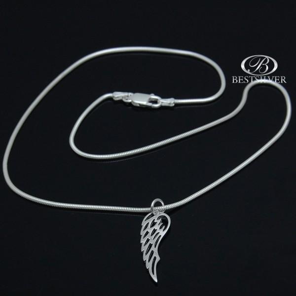 Łańcuszek srebrny żmijka + srebrna zawieszka Skrzydło Anioła