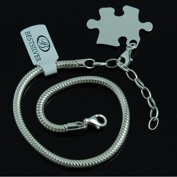 Bransoletka Srebrna Żmijka 3mm + zawieszka do bransoletki
