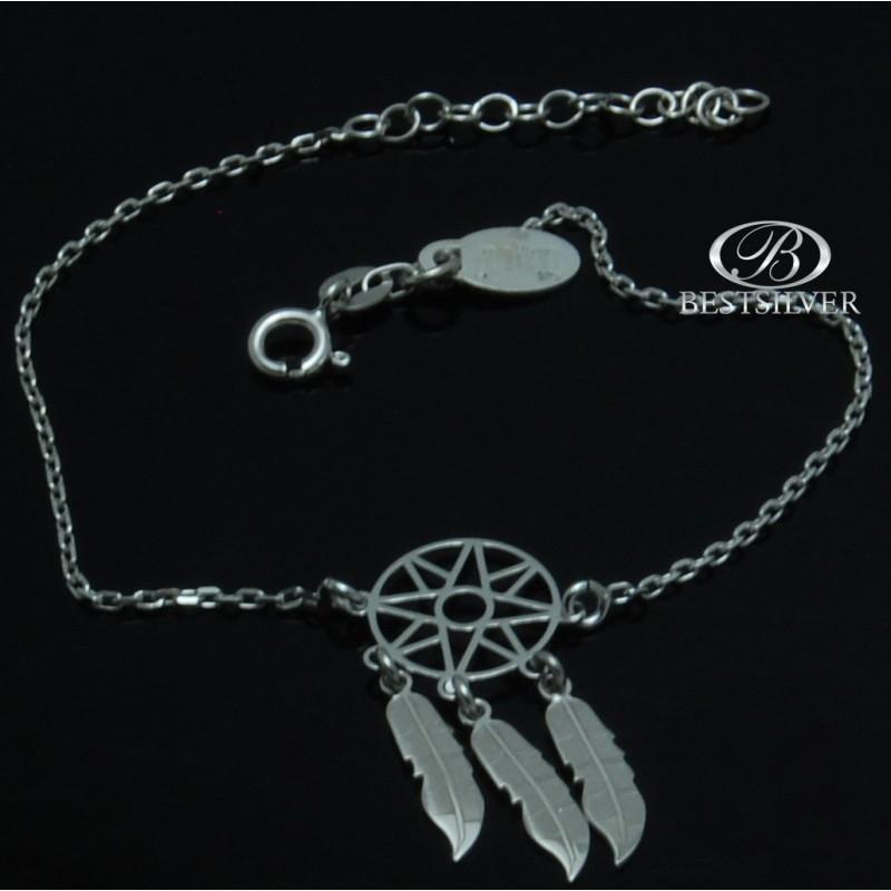 Niewiarygodnie Bransoletka Srebrna Łapacz Snów srebro rodowane 925 - Biżuteria MT38